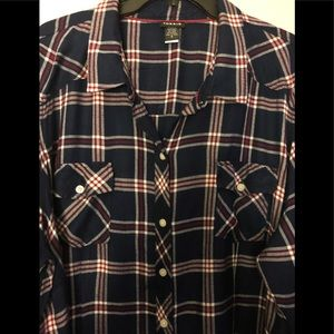 Long Sleeve Button Front Plaid Shirt